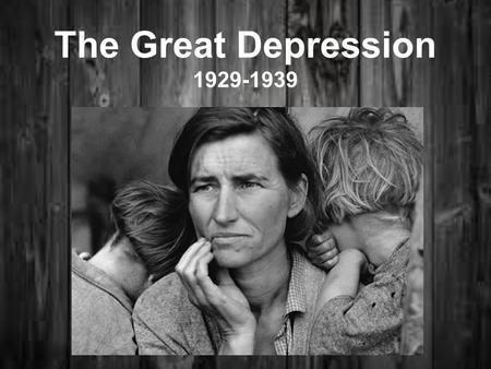 The Great Depression 1929-1939. Immediate Cause: Stock Market Crash: > Black Tuesday – Oct. 1929 - 16 mil shares sold on NY Stock Ex.