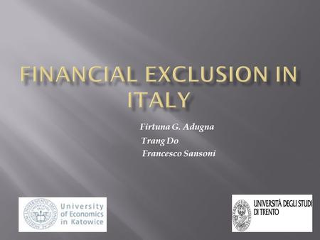 Firtuna G. Adugna Trang Do Francesco Sansoni. Introduction 1. Level and structure of financial exclusion 2. Causes and consequences of financial exclusion.