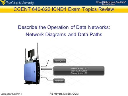 4 September 2015 RE Meyers, Ms.Ed., CCAI CCENT 640-822 ICND1 Exam Topics Review Describe the Operation of Data Networks: Network Diagrams and Data Paths.