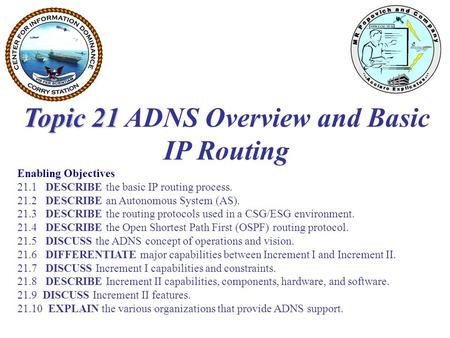 Topic 21 ADNS Overview and Basic IP Routing