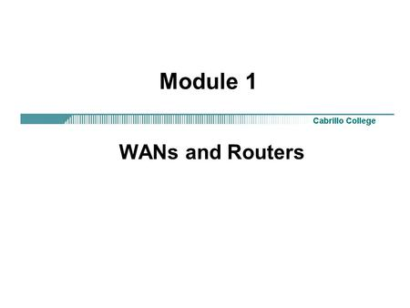 Module 1 WANs and Routers. CCNA 2 Version 3.02 Overview Students completing this module should be able to: Identify organizations responsible for WAN.