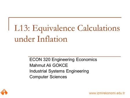 L13: Equivalence Calculations under Inflation