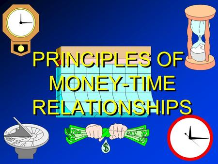 PRINCIPLES OF MONEY-TIME RELATIONSHIPS. MONEY Medium of Exchange -- Means of payment for goods or services; What sellers accept and buyers pay ; Store.
