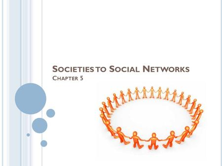 S OCIETIES TO S OCIAL N ETWORKS C HAPTER 5. SOCIETIES AND THEIR TRANSFORMATION Groups- people who interact with one another and who think of themselves.