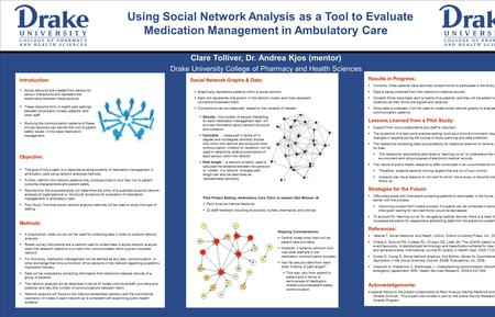 Using Social Network Analysis as a Tool to Evaluate Medication Management in Ambulatory Care Clare Tolliver, Dr. Andrea Kjos (mentor) Drake University.