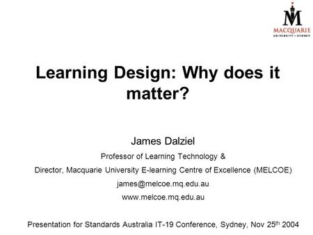 Learning Design: Why does it matter?