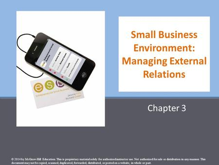 Small Business Environment: Managing External Relations
