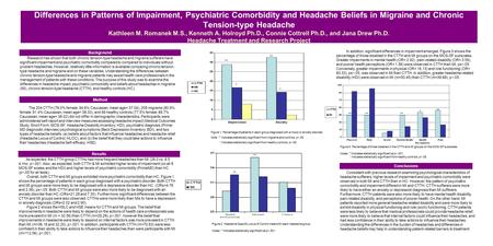 Differences in Patterns of Impairment, Psychiatric Comorbidity and Headache Beliefs in Migraine and Chronic Tension-type Headache Kathleen M. Romanek M.S.,