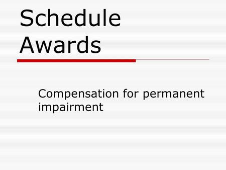 Compensation for permanent impairment