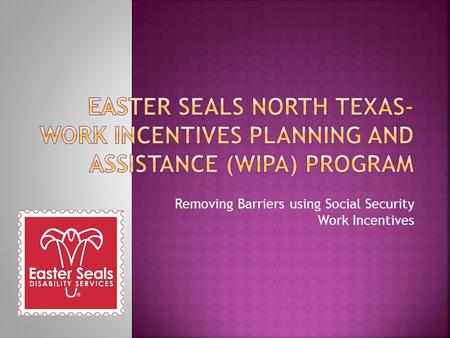 Removing Barriers using Social Security Work Incentives.