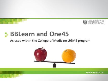 Www.usask.ca BBLearn and One45 As used within the College of Medicine UGME program.