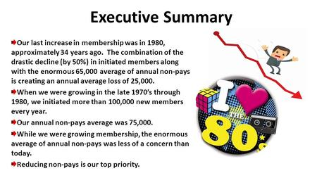 Executive Summary Our last increase in membership was in 1980, approximately 34 years ago. The combination of the drastic decline (by 50%) in initiated.