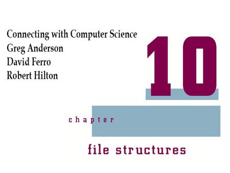 Connecting with Computer Science 2 Objectives Learn what a file system does Understand the FAT file system and its advantages and disadvantages Understand.
