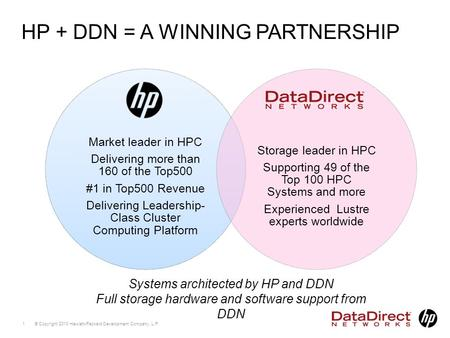 © Copyright 2010 Hewlett-Packard Development Company, L.P. 1 HP + DDN = A WINNING PARTNERSHIP Systems architected by HP and DDN Full storage hardware and.