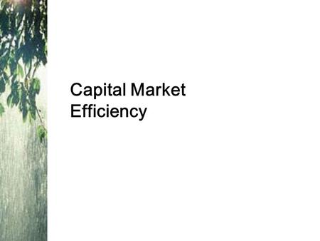 Capital Market Efficiency. Risk, Return and Financial Markets Lessons from capital market history –There is a reward for bearing risk –The greater the.