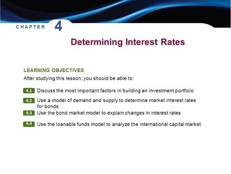 Determining Interest Rates C H A P T E R 4 4.1 4.2 4.3 Discuss the most important factors in building an investment portfolio LEARNING OBJECTIVES After.