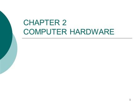 1 CHAPTER 2 COMPUTER HARDWARE. 2 The Significance of Hardware  Pace of hardware development is extremely fast. Keeping up requires a basic understanding.