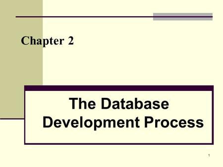 1 Chapter 2 The Database Development Process. 2 Objectives Definition of terms Describe system development life cycle Explain prototyping approach Explain.