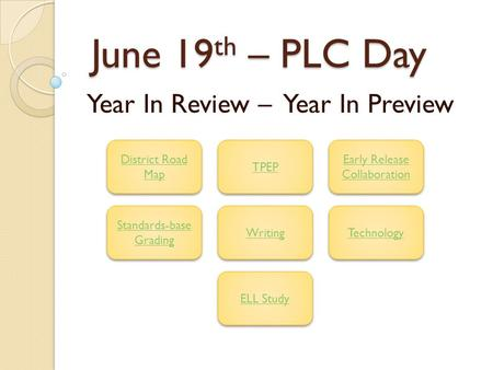 June 19 th – PLC Day June 19 th – PLC Day Year In Review – Year In Preview District Road Map District Road Map TPEP Early Release Collaboration Early Release.