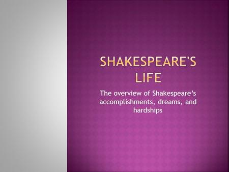 The overview of Shakespeare's accomplishments, dreams, and hardships.