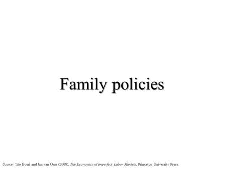 Family policies Source: Tito Boeri and Jan van Ours (2008), The Economics of Imperfect Labor Markets, Princeton University Press.