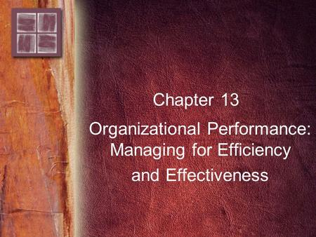 Chapter 13 Organizational Performance: Managing for Efficiency and Effectiveness.