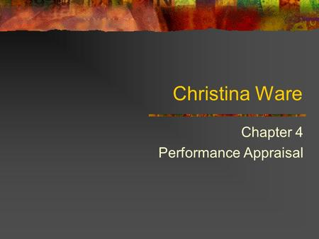 Chapter 4 Performance Appraisal