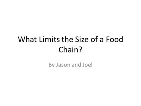What Limits the Size of a Food Chain? By Jason and Joel.