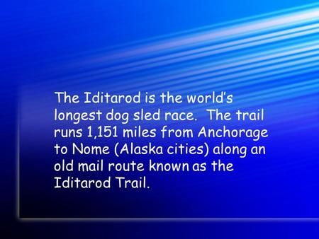 The Iditarod is the world's longest dog sled race. The trail runs 1,151 miles from Anchorage to Nome (Alaska cities) along an old mail route known as the.