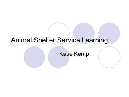 Animal Shelter Service Learning Katie Kemp. Lowndes County Animal Shelter They serve as a shelter to homeless animals of all types in the Lowndes County.
