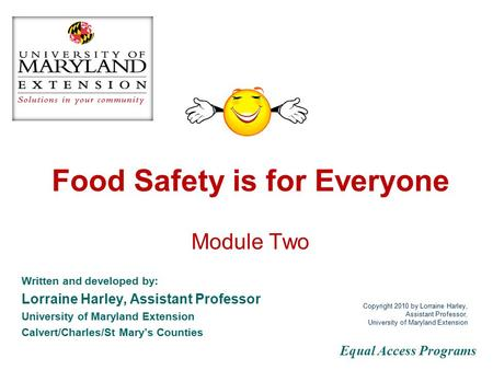 Food Safety is for Everyone Module Two