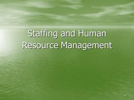 1 Staffing and Human Resource Management. 2 Learning Outcomes Describe the human resource management process Discuss the influence government regulations.