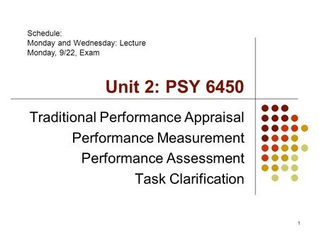 1 Unit 2: PSY 6450 Traditional Performance Appraisal Performance Measurement Performance Assessment Task Clarification Schedule: Monday and Wednesday: