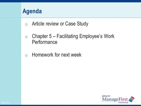 Agenda Article review or Case Study