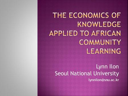 Lynn Ilon Seoul National University