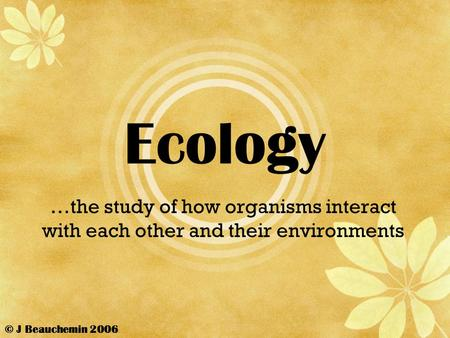 Ecology …the study of how organisms interact with each other and their environments © J Beauchemin 2006.