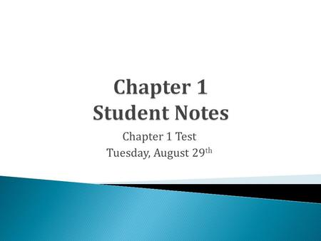 Chapter 1 Test Tuesday, August 29 th. A B C D m.