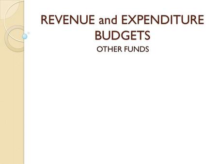 REVENUE and EXPENDITURE BUDGETS OTHER FUNDS. Glossary Budgeted Fund ◦ Any fund for which a budget must be officially adopted by the Board of Trustees.