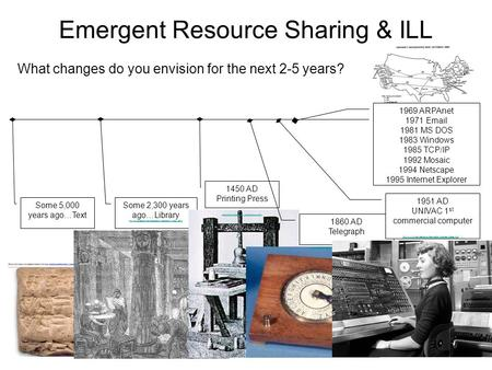 Emergent Resource Sharing & ILL What changes do you envision for the next 2-5 years? Some 5,000 years ago…Text Some 2,300 years ago…Library