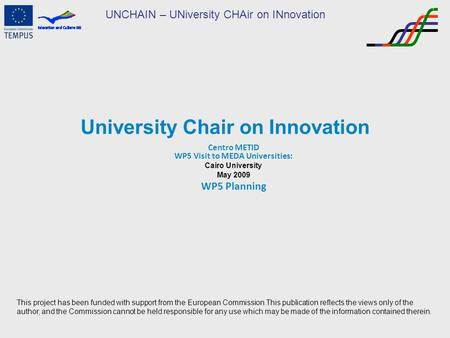 UNCHAIN – UNiversity CHAir on INnovation University Chair on Innovation Centro METID WP5 Visit to MEDA Universities: Cairo University May 2009 WP5 Planning.