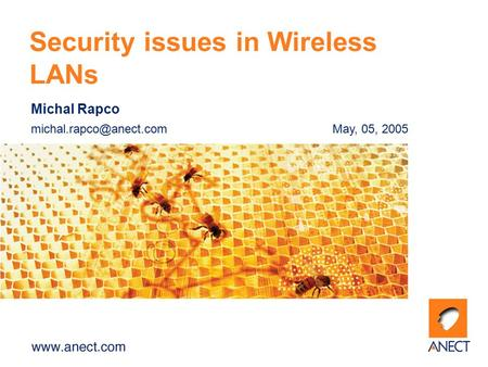 Michal Rapco 05, 2005 Security issues in Wireless LANs.