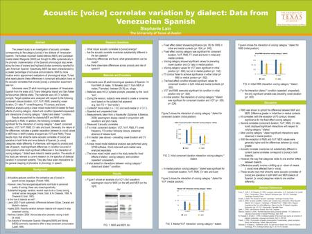TEMPLATE DESIGN © 2008 www.PosterPresentations.com Acoustic [voice] correlate variation by dialect: Data from Venezuelan Spanish Stephanie Lain The University.