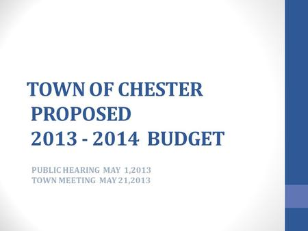 TOWN OF CHESTER PROPOSED 2013 - 2014 BUDGET PUBLIC HEARING MAY 1,2013 TOWN MEETING MAY 21,2013.