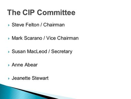  Steve Felton / Chairman  Mark Scarano / Vice Chairman  Susan MacLeod / Secretary  Anne Abear  Jeanette Stewart The CIP Committee.
