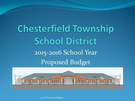 2015-2016 School Year Proposed Budget 2015/16 Proposed Budget1.