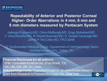 Repeatability of Anterior and Posterior Corneal Higher- Order Aberrations in 4 mm, 6 mm and 8 mm diameters measured by Pentacam System Jadwiga Wojtowicz.