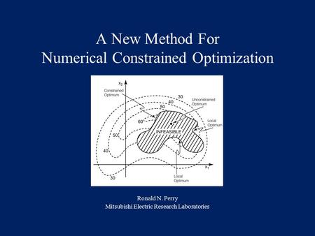 A New Method For Numerical Constrained Optimization Ronald N. Perry Mitsubishi Electric Research Laboratories.
