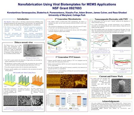 Nanofabrication Using Viral Biotemplates for MEMS Applications NSF Grant 0927693 Konstantinos Gerasopoulos, Ekaterina A. Pomerantseva, Xiaozhu Fan, Adam.
