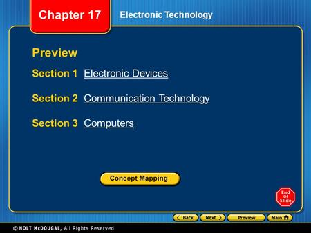 Chapter 17 Electronic Technology Preview Section 1 Electronic DevicesElectronic Devices Section 2 Communication TechnologyCommunication Technology Section.