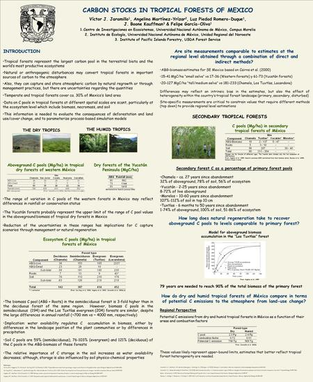 CARBON STOCKS IN TROPICAL FORESTS OF MEXICO Víctor J. Jaramillo 1, Angelina Martínez-Yrízar 2, Luz Piedad Romero-Duque 1, J. Boone Kauffman 3 & Felipe.